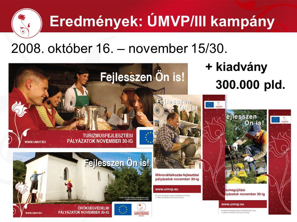 Eredmények: ÚMVP/III kampány 2008. október 16. – november 15/30. + kiadvány 300.000 pld.