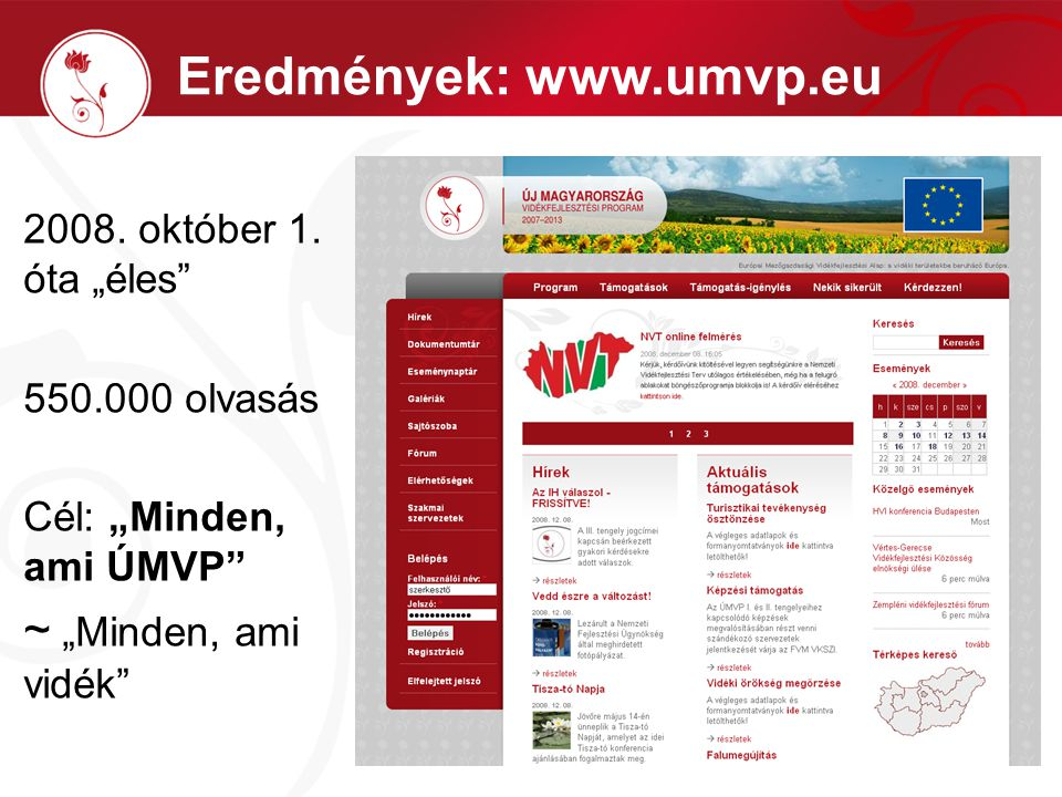 """Eredmények: www.umvp.eu 2008. október 1. óta """"éles"""" 550.000 olvasás Cél: """"Minden, ami ÚMVP"""" ~ """"Minden, ami vidék"""""""
