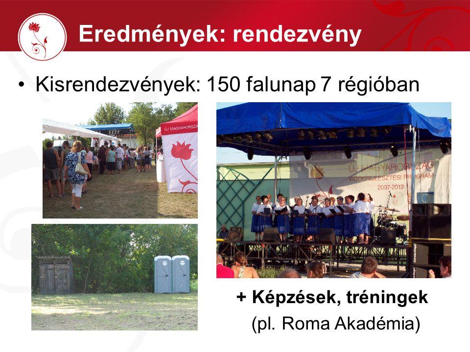 Kisrendezvények: 150 falunap 7 régióban Eredmények: rendezvény + Képzések, tréningek (pl. Roma Akadémia)