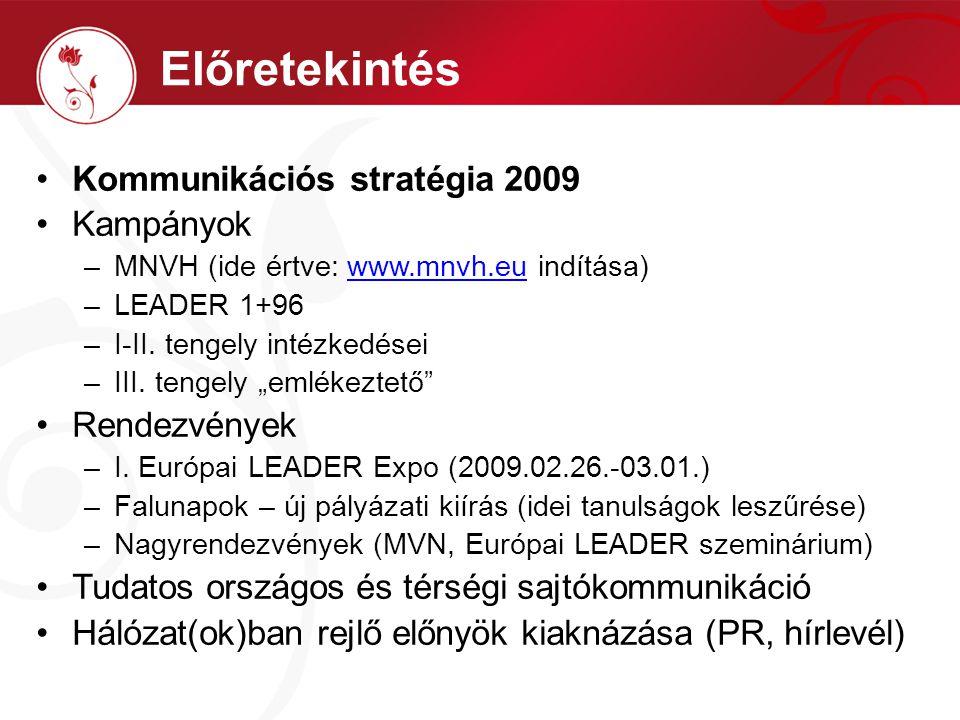 """Kommunikációs stratégia 2009 Kampányok –MNVH (ide értve: www.mnvh.eu indítása)www.mnvh.eu –LEADER 1+96 –I-II. tengely intézkedései –III. tengely """"emlé"""