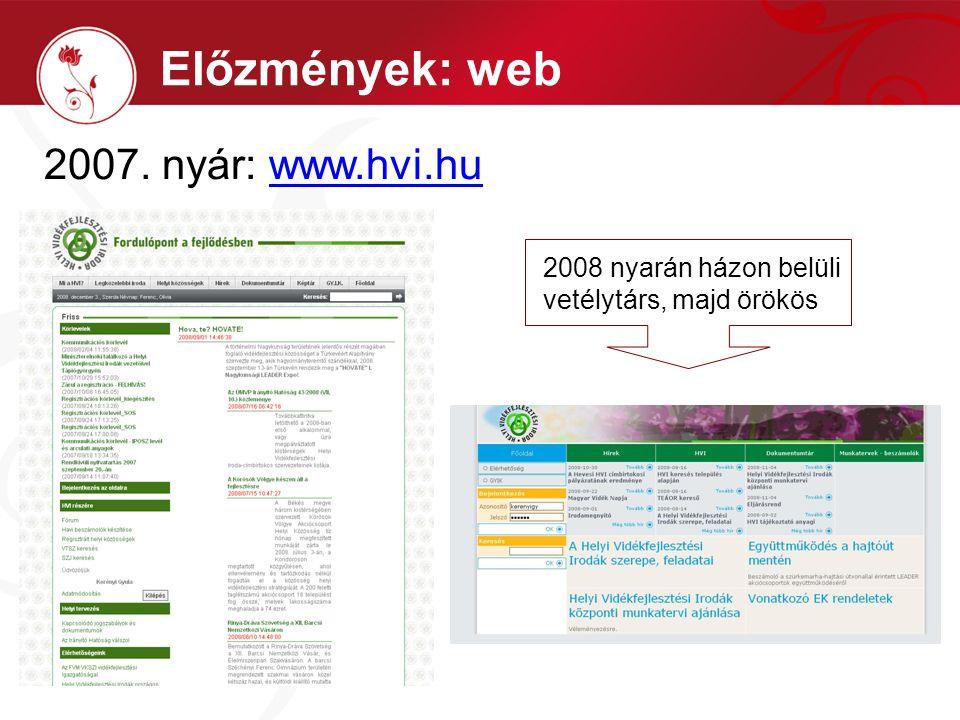2007. nyár: www.hvi.huwww.hvi.hu Előzmények: web 2008 nyarán házon belüli vetélytárs, majd örökös