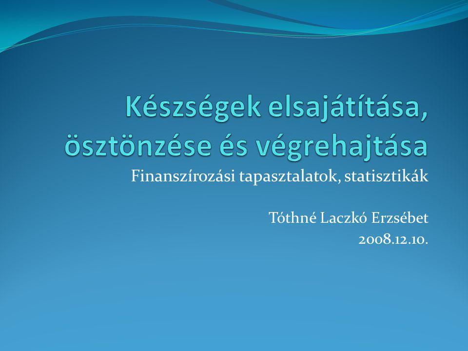 Finanszírozási tapasztalatok, statisztikák Tóthné Laczkó Erzsébet 2008.12.10.