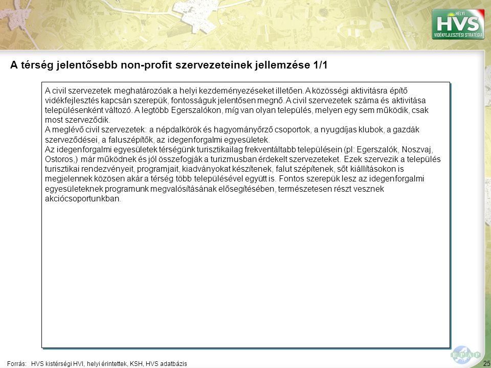 25 A civil szervezetek meghatározóak a helyi kezdeményezéseket illetően.