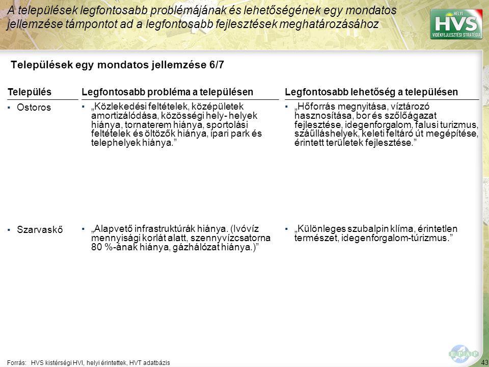 """43 Települések egy mondatos jellemzése 6/7 A települések legfontosabb problémájának és lehetőségének egy mondatos jellemzése támpontot ad a legfontosabb fejlesztések meghatározásához Forrás:HVS kistérségi HVI, helyi érintettek, HVT adatbázis TelepülésLegfontosabb probléma a településen ▪Ostoros ▪""""Közlekedési feltételek, középületek amortizálódása, közösségi hely- helyek hiánya, tornaterem hiánya, sportolási feltételek és öltözők hiánya, ipari park és telephelyek hiánya. ▪Szarvaskő ▪""""Alapvető infrastruktúrák hiánya."""