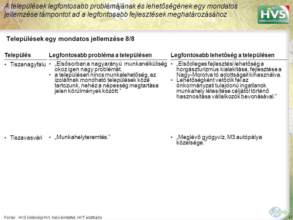 47 Települések egy mondatos jellemzése 8/8 A települések legfontosabb problémájának és lehetőségének egy mondatos jellemzése támpontot ad a legfontosa