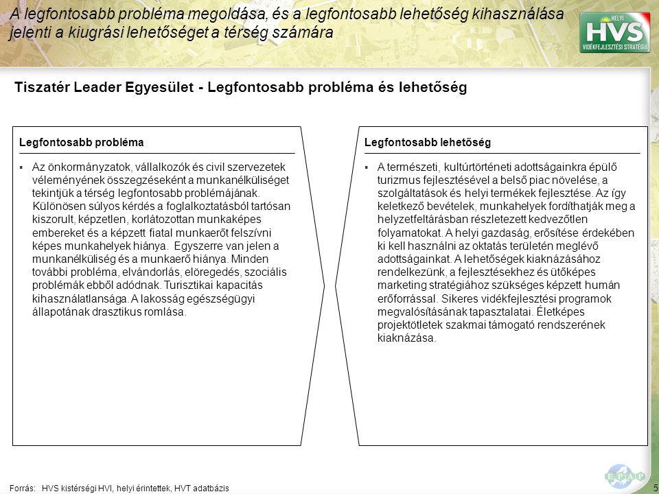 5 Tiszatér Leader Egyesület - Legfontosabb probléma és lehetőség A legfontosabb probléma megoldása, és a legfontosabb lehetőség kihasználása jelenti a kiugrási lehetőséget a térség számára Forrás:HVS kistérségi HVI, helyi érintettek, HVT adatbázis Legfontosabb problémaLegfontosabb lehetőség ▪Az önkormányzatok, vállalkozók és civil szervezetek véleményének összegzéseként a munkanélküliséget tekintjük a térség legfontosabb problémájának.