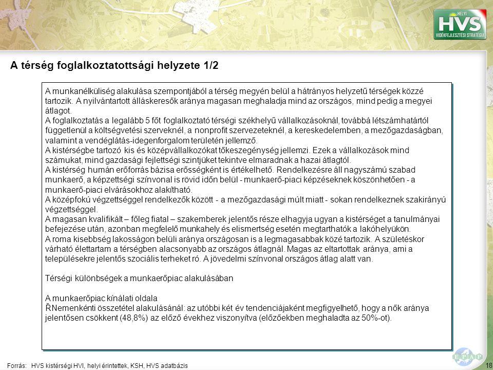 18 A munkanélküliség alakulása szempontjából a térség megyén belül a hátrányos helyzetű térségek közzé tartozik.