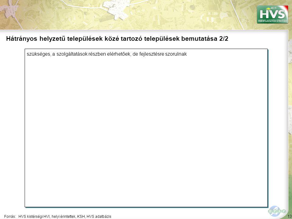 13 szükséges, a szolgáltatások részben elérhetőek, de fejlesztésre szorulnak Forrás:HVS kistérségi HVI, helyi érintettek, KSH, HVS adatbázis Hátrányos helyzetű települések közé tartozó települések bemutatása 2/2