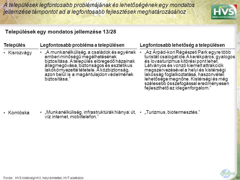 """60 Települések egy mondatos jellemzése 13/28 A települések legfontosabb problémájának és lehetőségének egy mondatos jellemzése támpontot ad a legfontosabb fejlesztések meghatározásához Forrás:HVS kistérségi HVI, helyi érintettek, HVT adatbázis TelepülésLegfontosabb probléma a településen ▪Kisrozvágy ▪""""A munkanélküliség, a családok és egyének emberi minőségű megélhetésének biztosítása."""