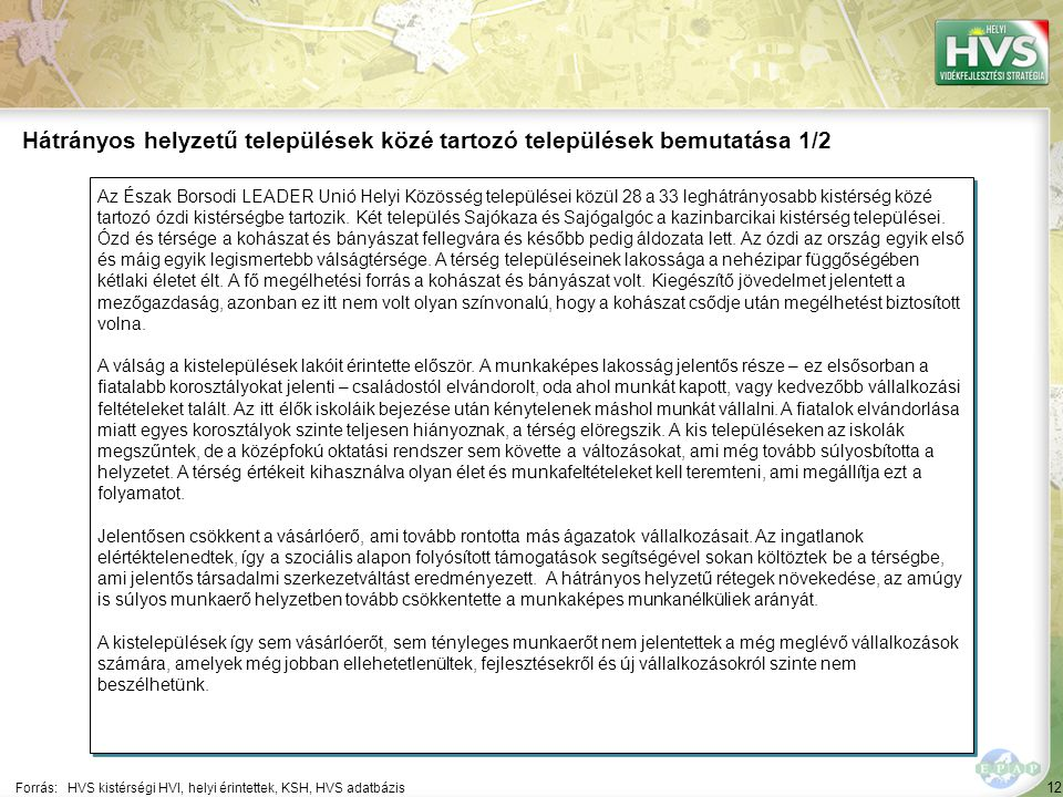 12 Az Észak Borsodi LEADER Unió Helyi Közösség települései közül 28 a 33 leghátrányosabb kistérség közé tartozó ózdi kistérségbe tartozik. Két települ