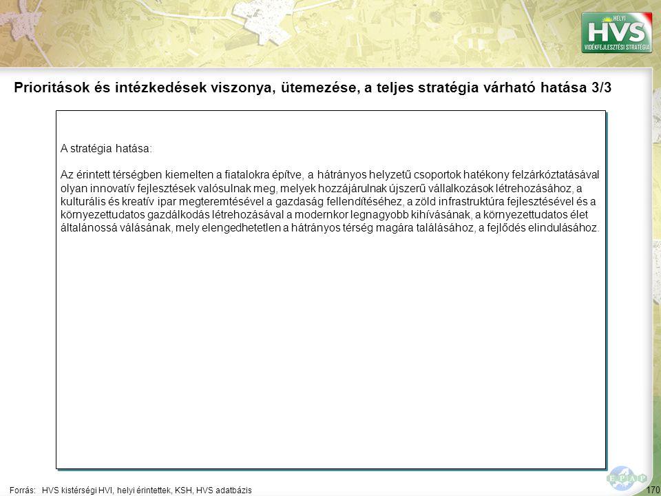 170 A stratégia hatása: Az érintett térségben kiemelten a fiatalokra építve, a hátrányos helyzetű csoportok hatékony felzárkóztatásával olyan innovatí