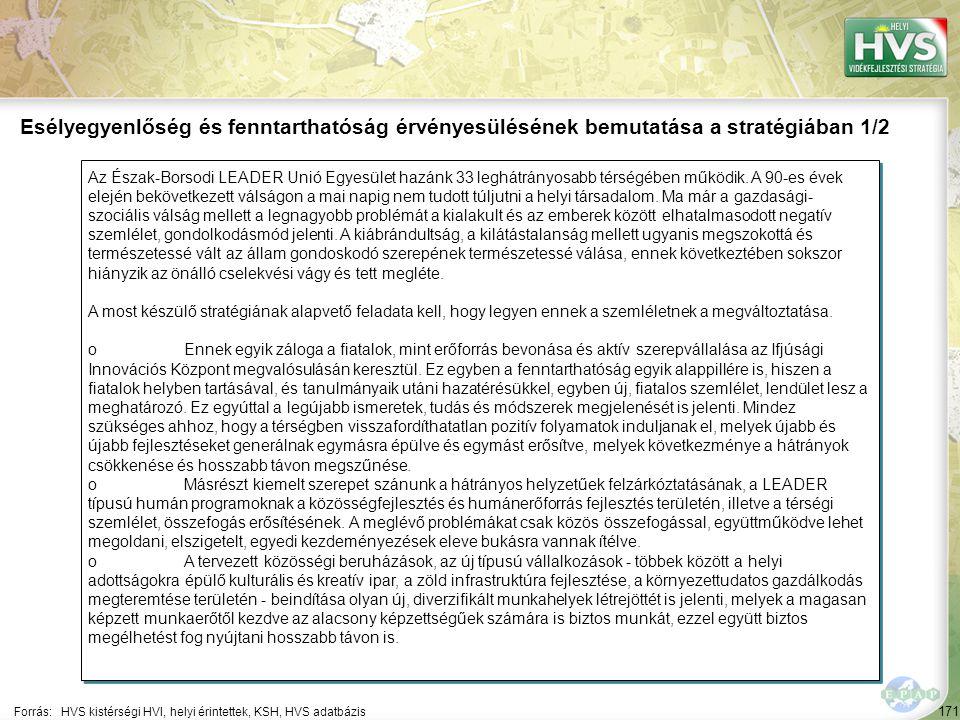 171 Az Észak-Borsodi LEADER Unió Egyesület hazánk 33 leghátrányosabb térségében működik. A 90-es évek elején bekövetkezett válságon a mai napig nem tu