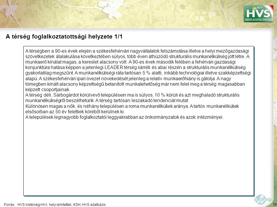 18 A térségben a 90-es évek elején a székesfehérvári nagyvállalatok felszámolása illetve a helyi mezőgazdasági szövetkezetek átalakulása következtében súlyos, több éven áthúzódó strukturális munkanélküliség jött létre.