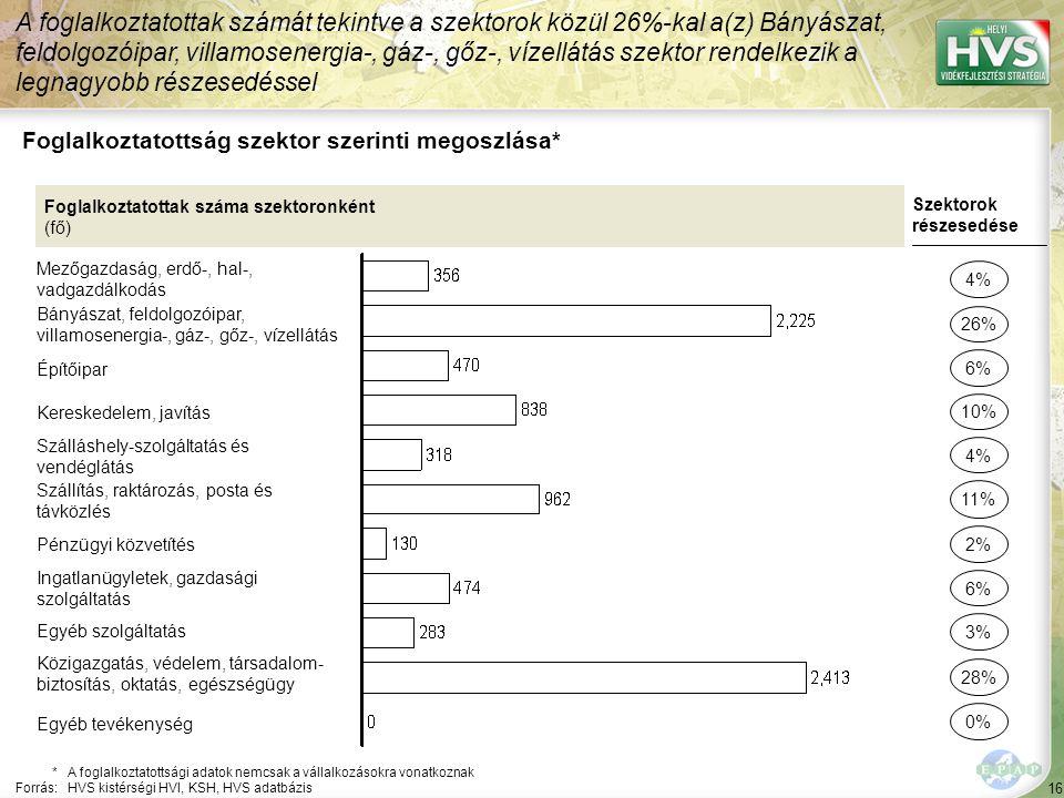 16 Foglalkoztatottság szektor szerinti megoszlása* A foglalkoztatottak számát tekintve a szektorok közül 26%-kal a(z) Bányászat, feldolgozóipar, villa