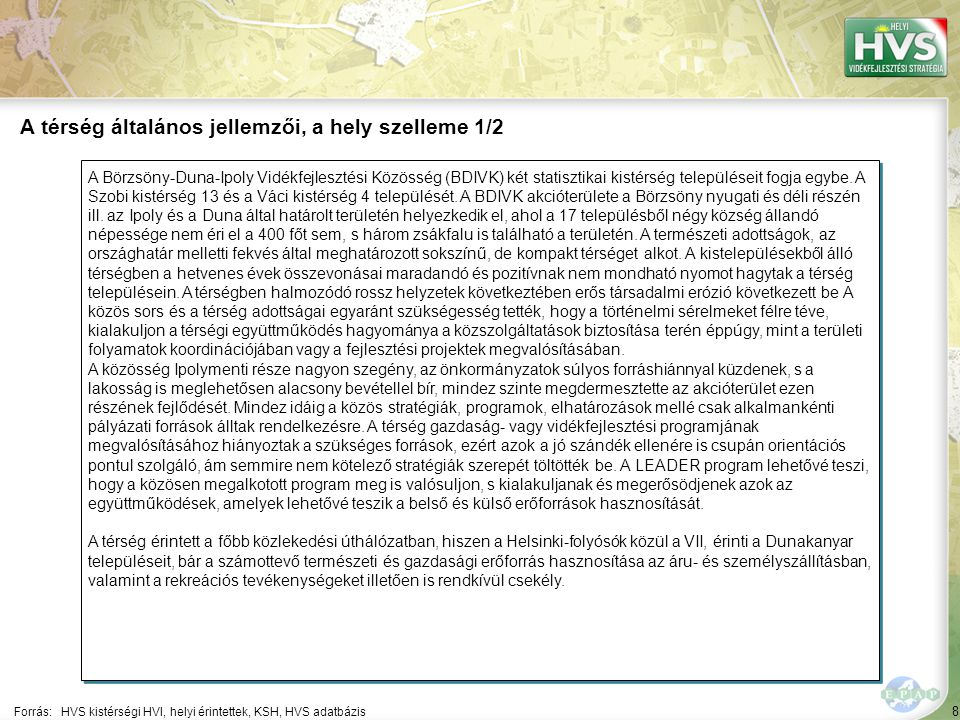 8 A Börzsöny-Duna-Ipoly Vidékfejlesztési Közösség (BDIVK) két statisztikai kistérség településeit fogja egybe. A Szobi kistérség 13 és a Váci kistérsé
