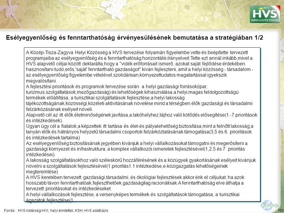 180 A Közép-Tisza-Zagyva Helyi Közösség a HVS tervezése folyamán figyelembe vette és beépítette tervezett programjaiba az esélyegyenlőség és a fenntar