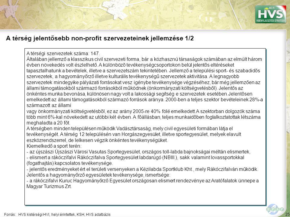 25 A térségi szervezetek száma: 147.
