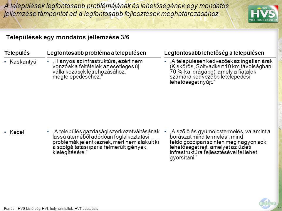 """44 Települések egy mondatos jellemzése 3/6 A települések legfontosabb problémájának és lehetőségének egy mondatos jellemzése támpontot ad a legfontosabb fejlesztések meghatározásához Forrás:HVS kistérségi HVI, helyi érintettek, HVT adatbázis TelepülésLegfontosabb probléma a településen ▪Kaskantyú ▪""""Hiányos az infrastruktúra, ezért nem vonzóak a feltételek az esetleges új vállalkozások létrehozásához, megtelepedéséhez. ▪Kecel ▪""""A település gazdasági szerkezetváltásának lassú üteméből adódóan foglalkoztatási problémák jelentkeznek, mert nem alakult ki a szolgáltatási ipar a felmerült igények kielégítésére. Legfontosabb lehetőség a településen ▪""""A településen kedvezőek az ingatlan árak (Kiskőrös, Soltvadkert 10 km távolságban, 70 %-kal drágább), amely a fiatalok számára kedvezőbb letelepedési lehetőséget nyújt. ▪""""A szőlö és gyümölcstermelés, valamint a borászat mind termelési, mind feldolgozóipari szinten még nagyon sok lehetőséget rejt, amelyet az üzleti infrastruktúra fejlesztésével fel lehet gyorsítani."""
