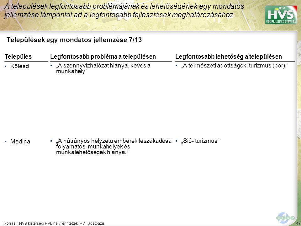 """47 Települések egy mondatos jellemzése 7/13 A települések legfontosabb problémájának és lehetőségének egy mondatos jellemzése támpontot ad a legfontosabb fejlesztések meghatározásához Forrás:HVS kistérségi HVI, helyi érintettek, HVT adatbázis TelepülésLegfontosabb probléma a településen ▪Kölesd ▪""""A szennyvízhálózat hiánya, kevés a munkahely ▪Medina ▪""""A hátrányos helyzetű emberek leszakadása folyamatos, munkahelyek és munkalehetőségek hiánya. Legfontosabb lehetőség a településen ▪""""A természeti adottságok, turizmus (bor). ▪""""Sió- turizmus"""