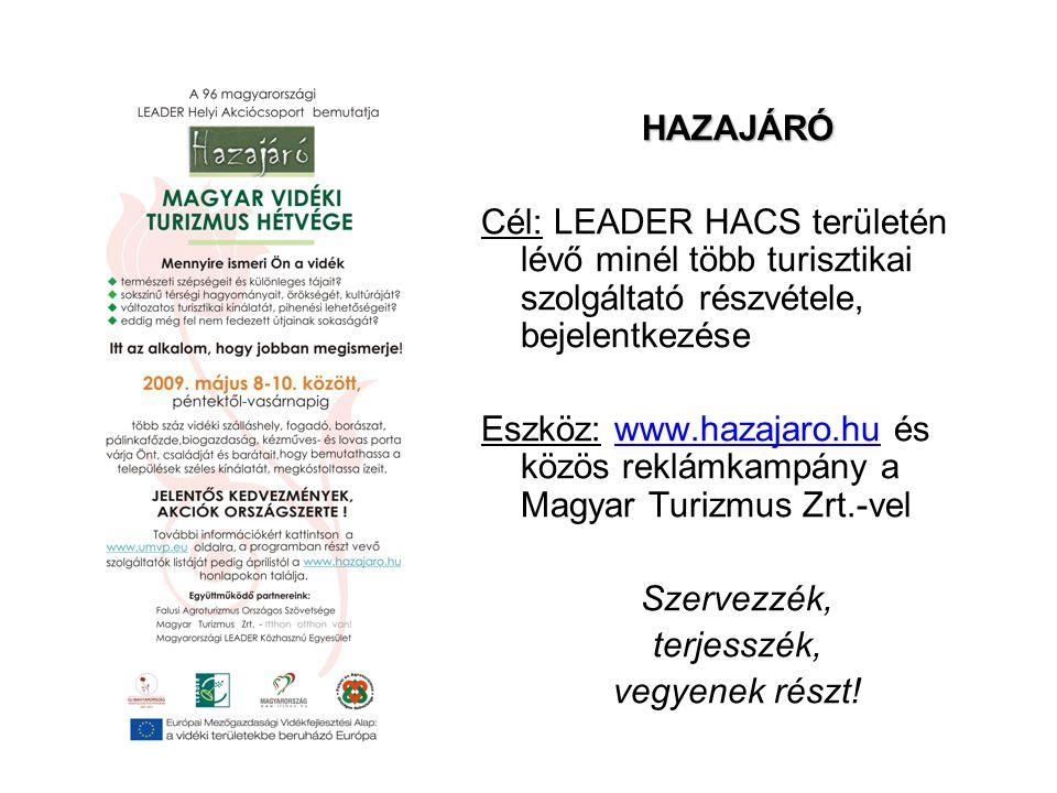 HAZAJÁRÓ HAZAJÁRÓ Cél: LEADER HACS területén lévő minél több turisztikai szolgáltató részvétele, bejelentkezése Eszköz: www.hazajaro.hu és közös reklá