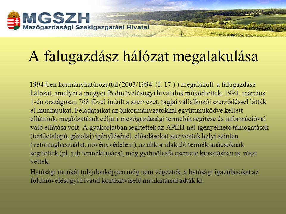 A falugazdász hálózat megalakulása 1994-ben kormányhatározattal (2003/1994. (I. 17.) ) megalakult a falugazdász hálózat, amelyet a megyei földművelésü