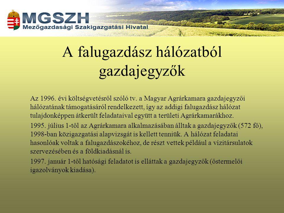 A falugazdász hálózatból gazdajegyzők Az 1996. évi költségvetésről szóló tv. a Magyar Agrárkamara gazdajegyzői hálózatának támogatásáról rendelkezett,