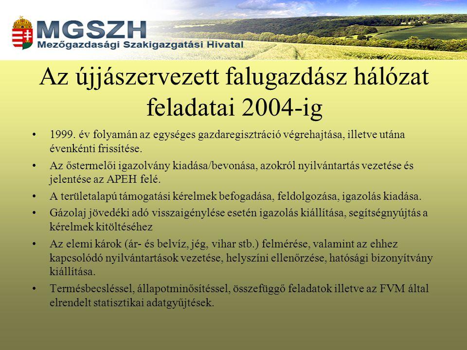 Az újjászervezett falugazdász hálózat feladatai 2004-ig 1999. év folyamán az egységes gazdaregisztráció végrehajtása, illetve utána évenkénti frissíté