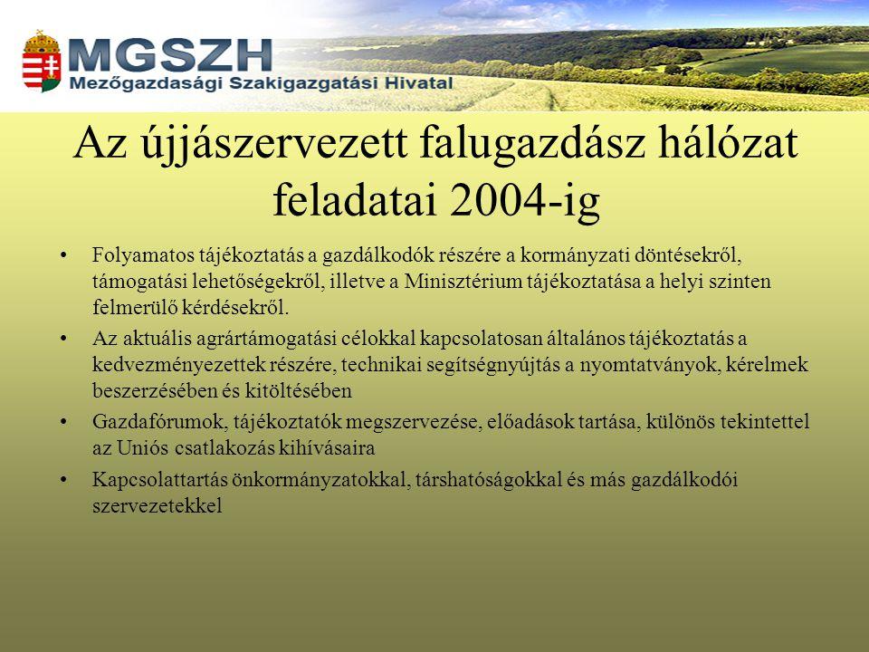 Az újjászervezett falugazdász hálózat feladatai 2004-ig Folyamatos tájékoztatás a gazdálkodók részére a kormányzati döntésekről, támogatási lehetősége