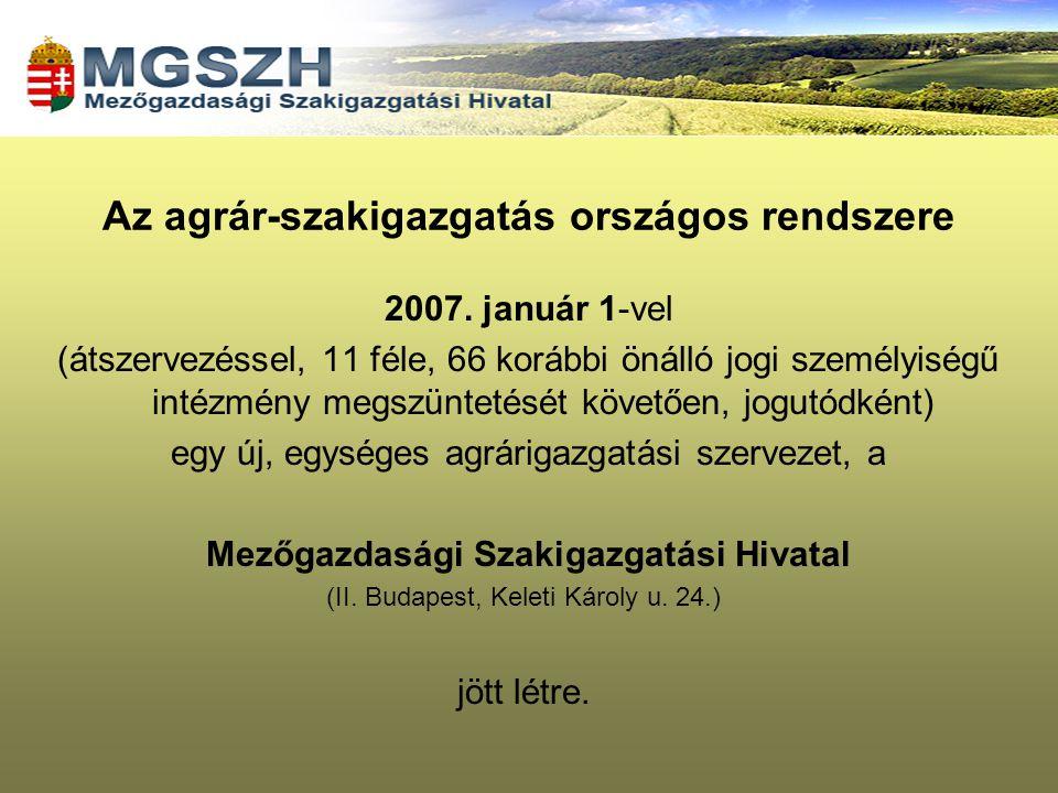 2007. január 1-vel (átszervezéssel, 11 féle, 66 korábbi önálló jogi személyiségű intézmény megszüntetését követően, jogutódként) egy új, egységes agrá