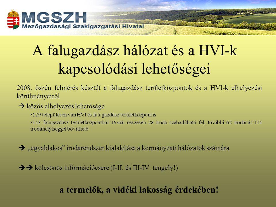 A falugazdász hálózat és a HVI-k kapcsolódási lehetőségei 2008. őszén felmérés készült a falugazdász területközpontok és a HVI-k elhelyezési körülmény