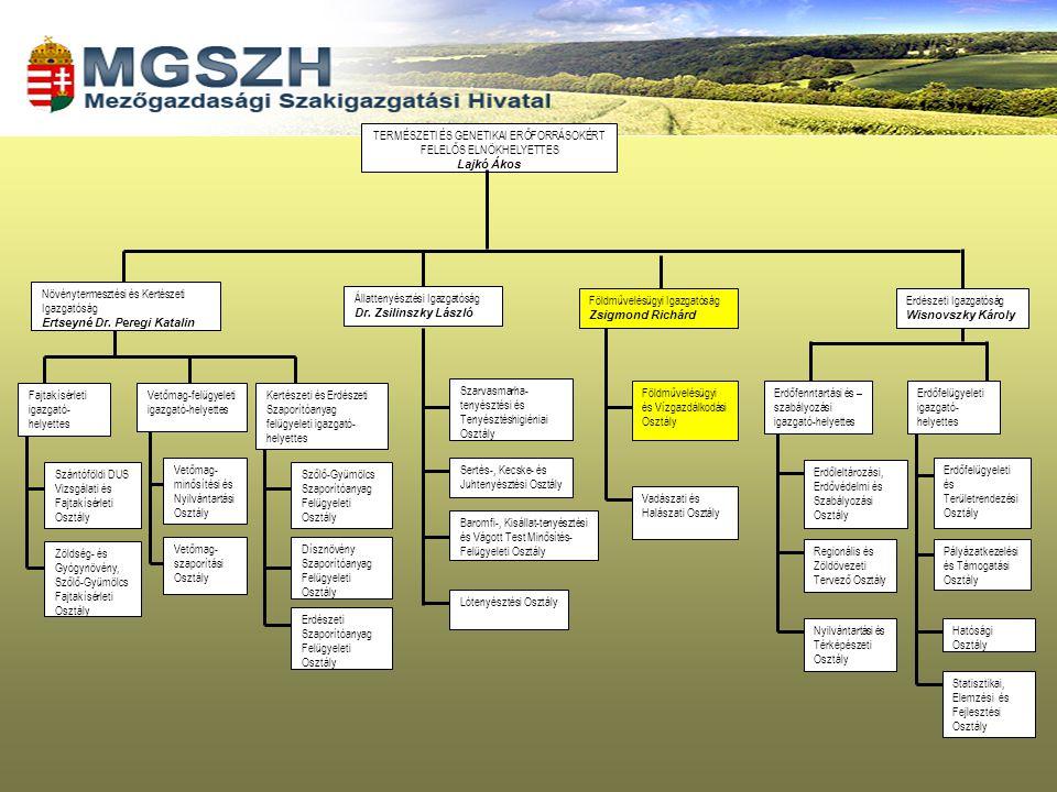 FŐIGAZGATÓ Gazdasági és Informatikai Osztály ÉLELMISZERLÁNC-BIZTONSÁGI ÉS ÁLLATEGÉSZSÉGÜGYI IGAZGATÓ NÖVÉNY- ÉS TALAJVÉDELMI IGAZGATÓERDÉSZETI IGAZGATÓ * Járványügyi és Állatvédelmi Osztály Élelmiszerbiztonsági és Minőségellenőrzési Osztály Minőségellenőrzési és Takarmányfelügyeleti Osztály Laboratórium(ok) Kirendeltség(ek) Növényvédelmi Osztály Talajvédelmi Osztály Laboratórium(ok) Erdőfelügyeleti és Hatósági Osztály Erdőleltározási és Szabályozási Osztály Pályázatkezelési és Támogatási Osztály Határkirendeltség Földművelésügyi Hatósági Osztály Vadászati és Halászati Osztály FÖLDMŰVELÉSÜGYI IGAZGATÓ Nyilvántartási és Térképészeti Osztály Termelési és Ügyfélszolgálati Osztály Vetőmagfelügyeleti Osztály* Erdészeti Igazgatóság 10, a Vetőmagfelügyeleti Osztály – a Földművelésügyi Igazgatóságon belül – 7 megyei MgSZH-nál működik.
