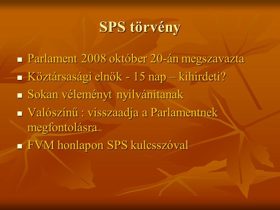 SPS törvény Parlament 2008 október 20-án megszavazta Parlament 2008 október 20-án megszavazta Köztársasági elnök - 15 nap – kihirdeti.