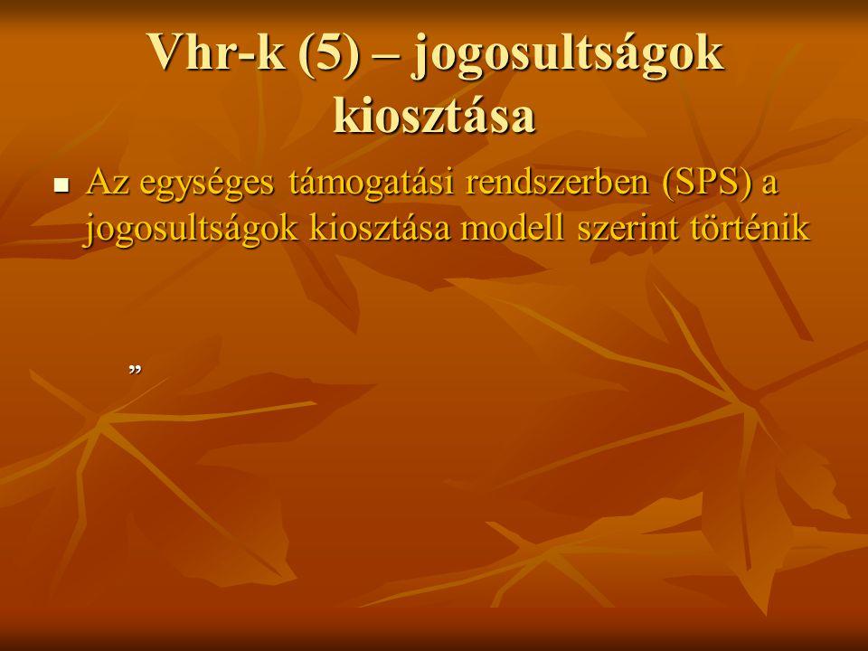 """Vhr-k (5) – jogosultságok kiosztása Az egységes támogatási rendszerben (SPS) a jogosultságok kiosztása modell szerint történik Az egységes támogatási rendszerben (SPS) a jogosultságok kiosztása modell szerint történik """""""