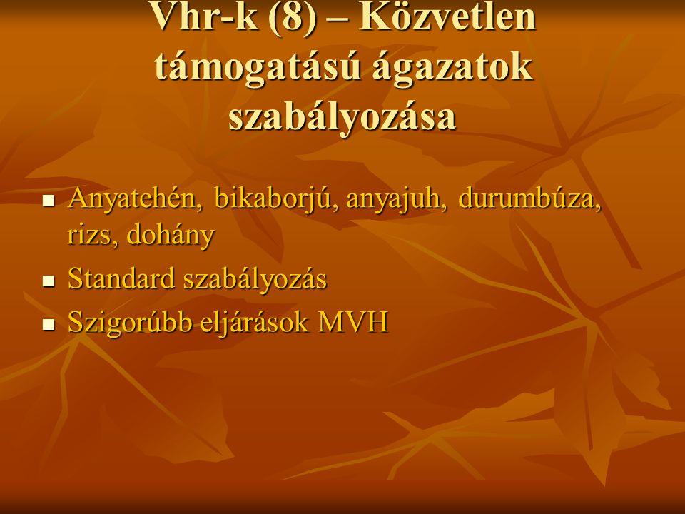 Vhr-k (8) – Közvetlen támogatású ágazatok szabályozása Anyatehén, bikaborjú, anyajuh, durumbúza, rizs, dohány Anyatehén, bikaborjú, anyajuh, durumbúza, rizs, dohány Standard szabályozás Standard szabályozás Szigorúbb eljárások MVH Szigorúbb eljárások MVH