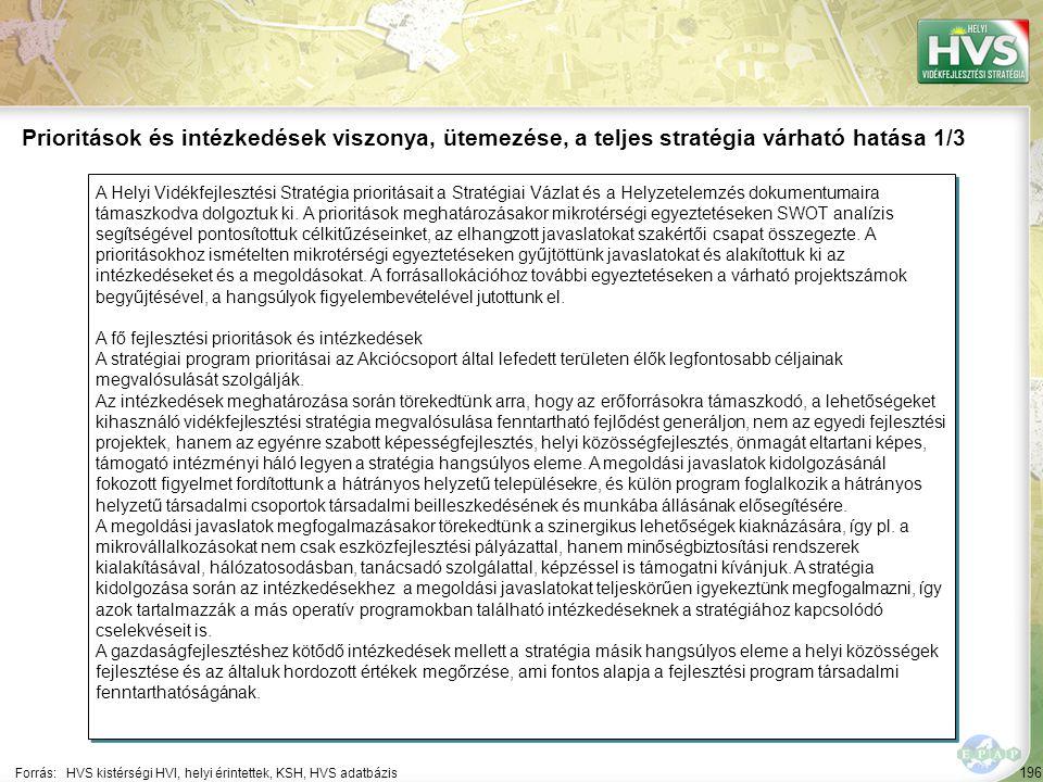 196 A Helyi Vidékfejlesztési Stratégia prioritásait a Stratégiai Vázlat és a Helyzetelemzés dokumentumaira támaszkodva dolgoztuk ki. A prioritások meg