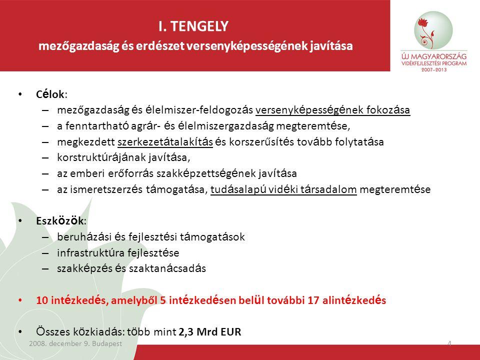 2008. december 9. Budapest5 I. TENGELY intézkedések forrás eloszlása