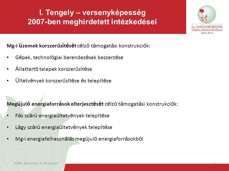 2008. december 9. Budapest6 Mg-i ü zemek korszerűs í t é s é t c é lz ó t á mogat á si konstrukci ó k: G é pek, technol ó giai berendez é sek beszerz