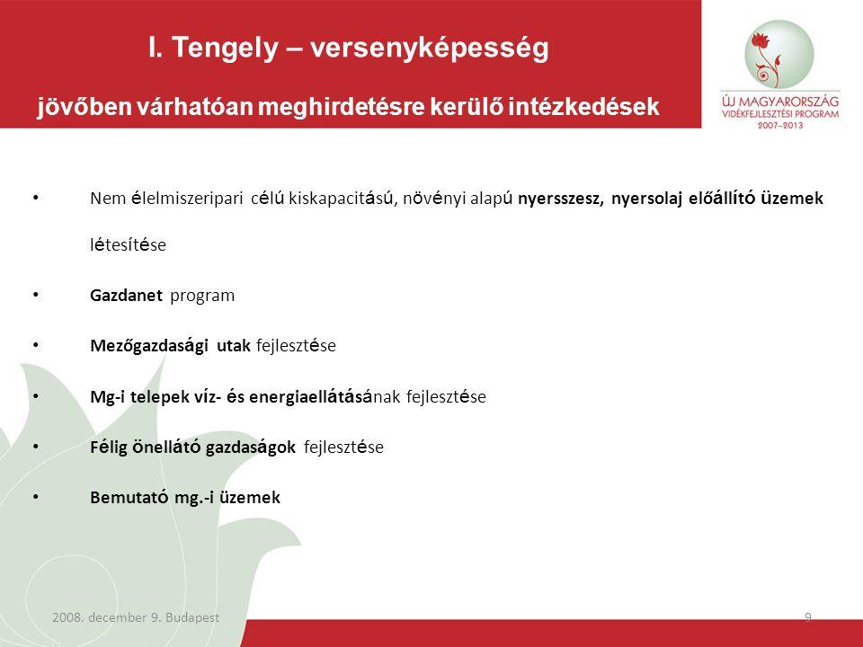 2008.december 9. Budapest10 Meghirdetett támogatási konstrukciók száma: 17 ÚMVP I.
