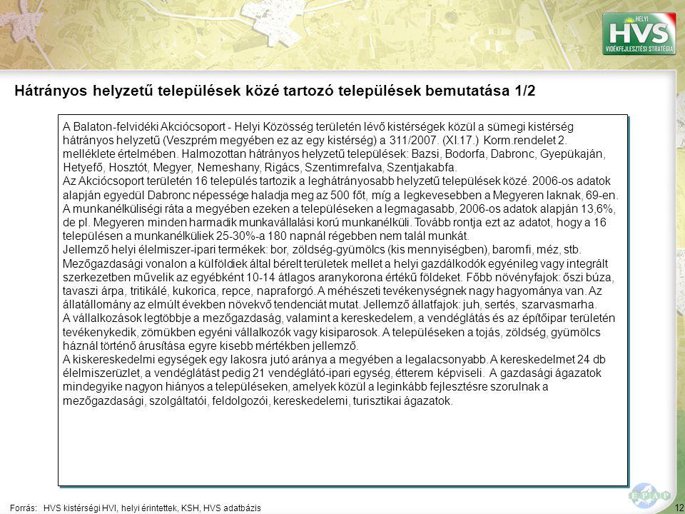 12 A Balaton-felvidéki Akciócsoport - Helyi Közösség területén lévő kistérségek közül a sümegi kistérség hátrányos helyzetű (Veszprém megyében ez az egy kistérség) a 311/2007.