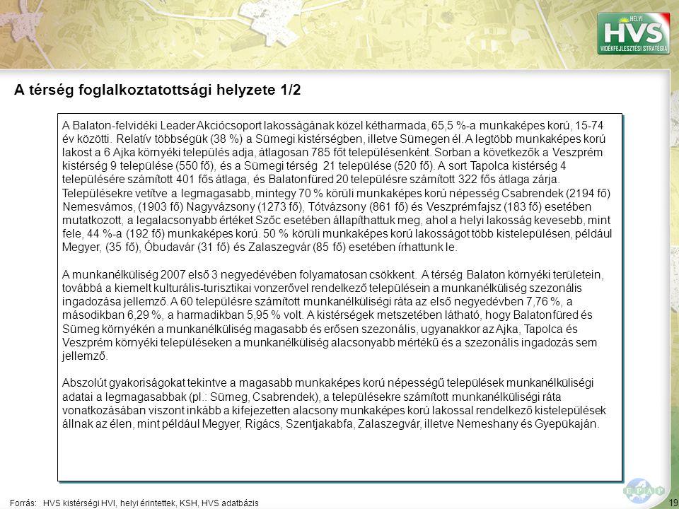 19 A Balaton-felvidéki Leader Akciócsoport lakosságának közel kétharmada, 65,5 %-a munkaképes korú, 15-74 év közötti.