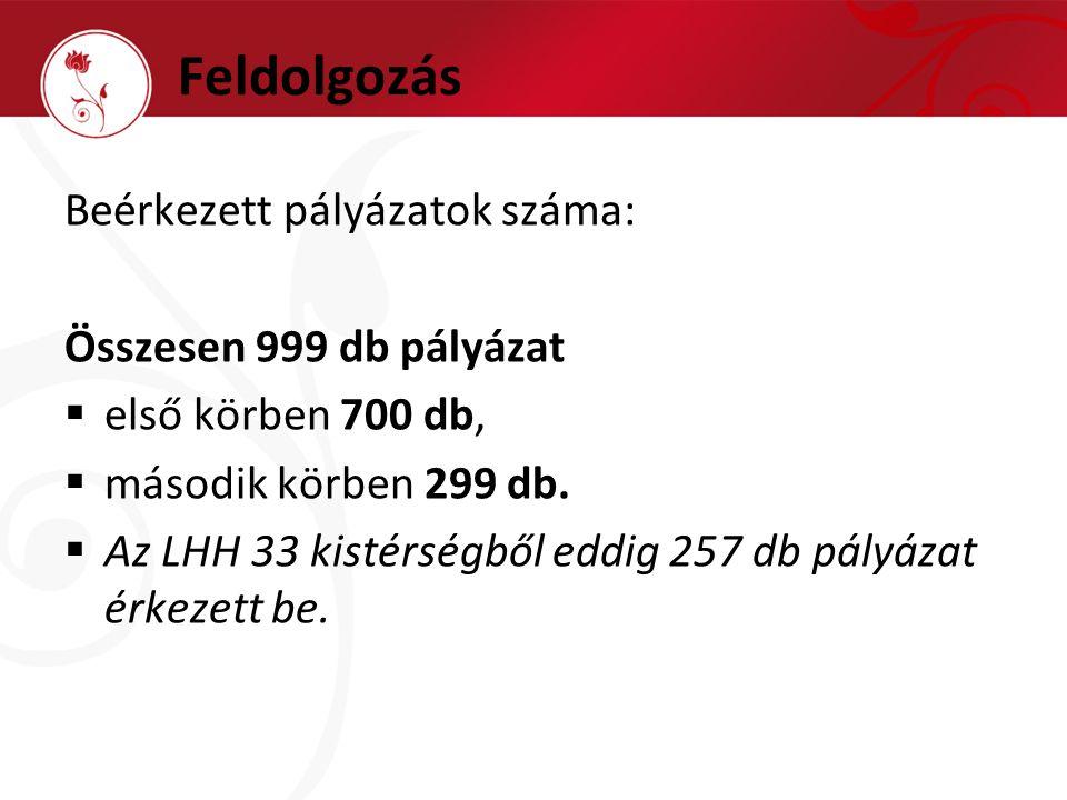 Feldolgozás Beérkezett pályázatok száma: Összesen 999 db pályázat  első körben 700 db,  második körben 299 db.
