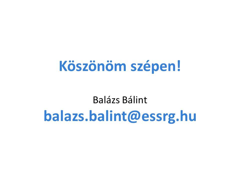Köszönöm szépen! Balázs Bálint balazs.balint@essrg.hu