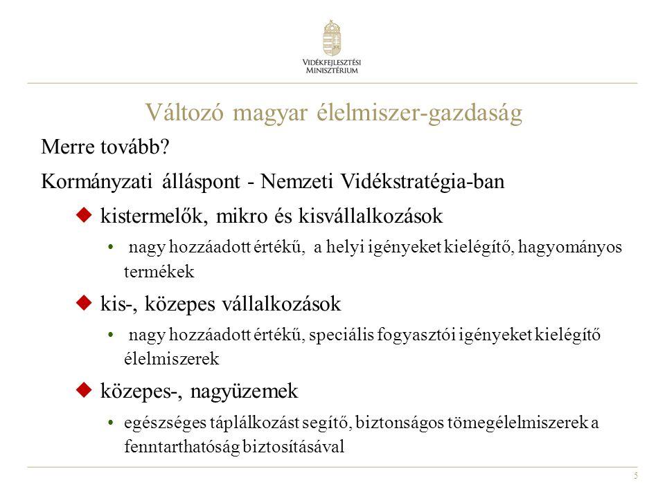 5 Változó magyar élelmiszer-gazdaság Merre tovább.