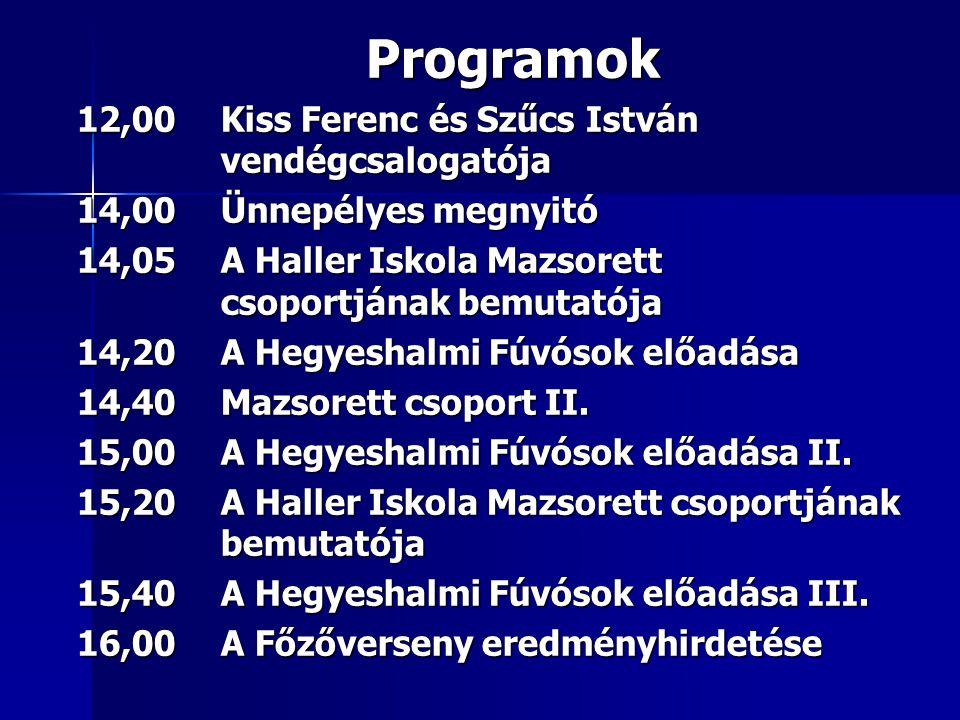 Programok 12,00Kiss Ferenc és Szűcs István vendégcsalogatója 14,00Ünnepélyes megnyitó 14,05A Haller Iskola Mazsorett csoportjának bemutatója 14,20A Hegyeshalmi Fúvósok előadása 14,40Mazsorett csoport II.