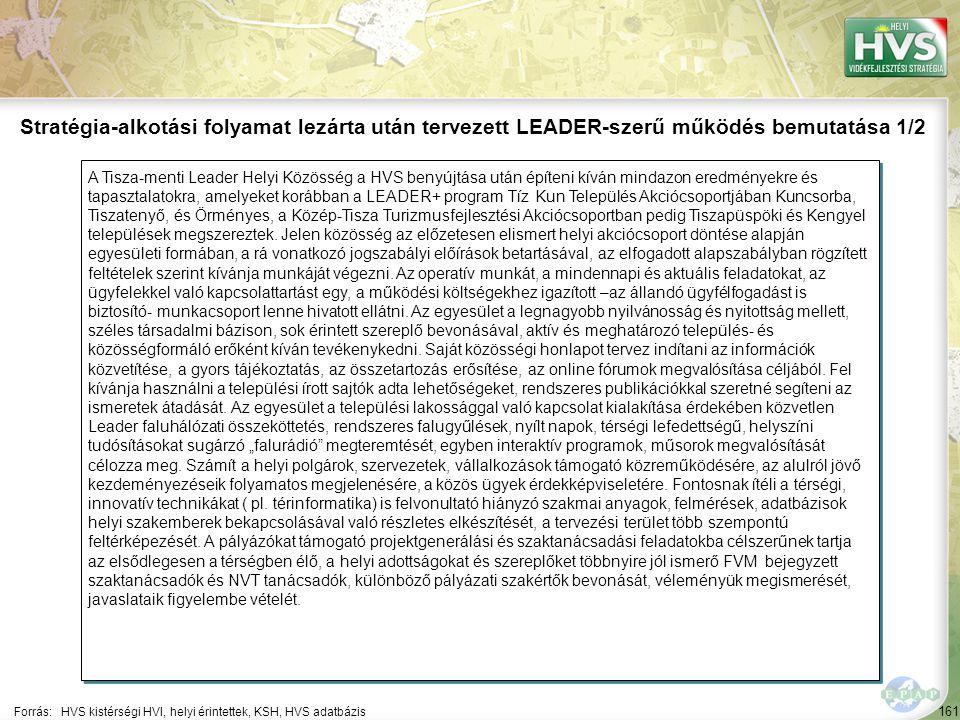 161 A Tisza-menti Leader Helyi Közösség a HVS benyújtása után építeni kíván mindazon eredményekre és tapasztalatokra, amelyeket korábban a LEADER+ pro