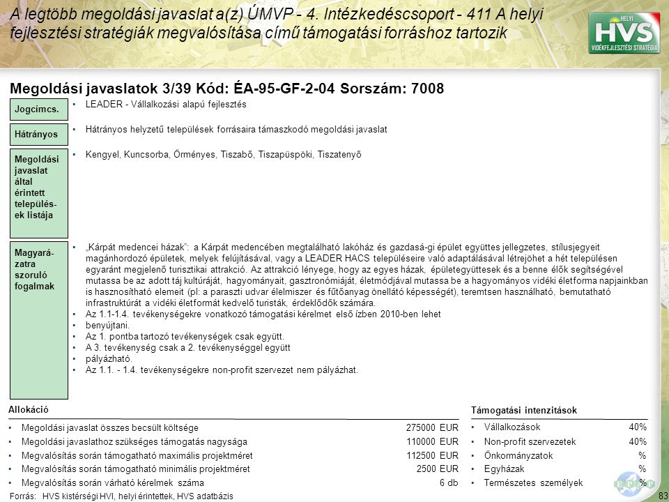 A legtöbb megoldási javaslat a(z) ÚMVP - 4.