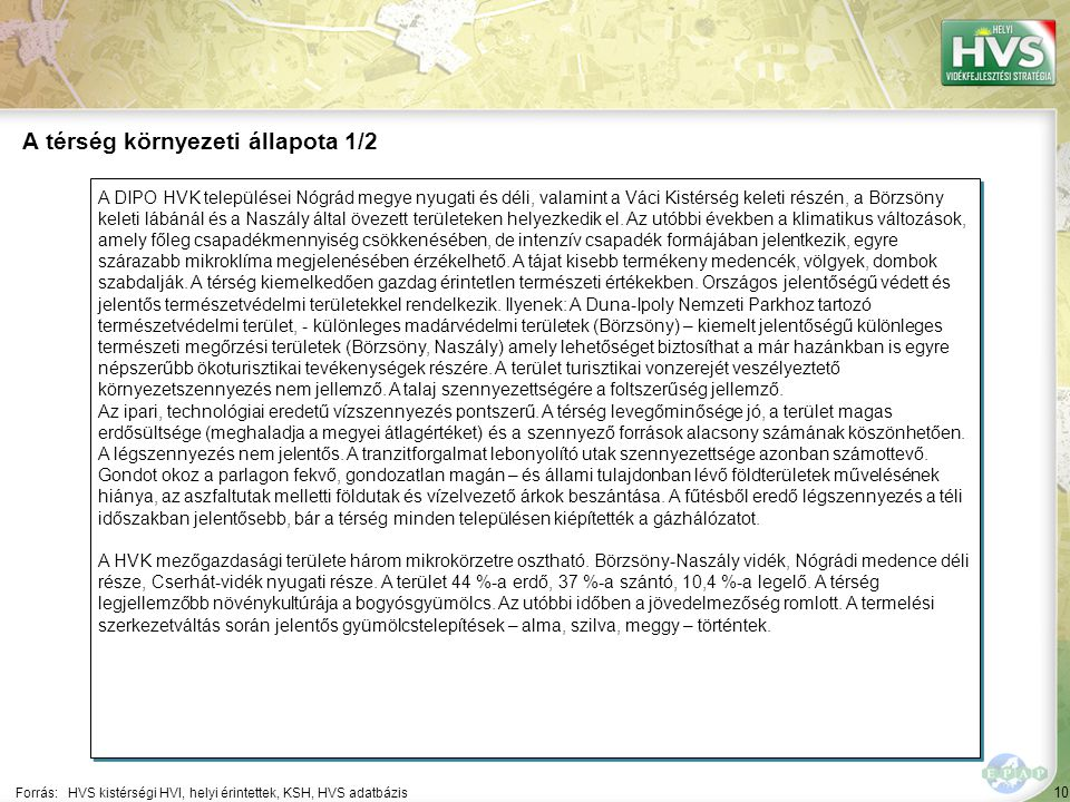 10 A DIPO HVK települései Nógrád megye nyugati és déli, valamint a Váci Kistérség keleti részén, a Börzsöny keleti lábánál és a Naszály által övezett területeken helyezkedik el.