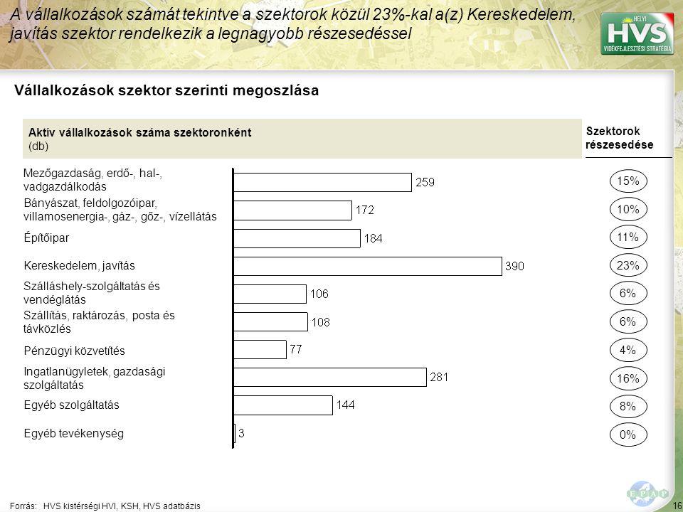16 Forrás:HVS kistérségi HVI, KSH, HVS adatbázis Vállalkozások szektor szerinti megoszlása A vállalkozások számát tekintve a szektorok közül 23%-kal a(z) Kereskedelem, javítás szektor rendelkezik a legnagyobb részesedéssel Aktív vállalkozások száma szektoronként (db) Mezőgazdaság, erdő-, hal-, vadgazdálkodás Bányászat, feldolgozóipar, villamosenergia-, gáz-, gőz-, vízellátás Építőipar Kereskedelem, javítás Szálláshely-szolgáltatás és vendéglátás Szállítás, raktározás, posta és távközlés Pénzügyi közvetítés Ingatlanügyletek, gazdasági szolgáltatás Egyéb szolgáltatás Egyéb tevékenység Szektorok részesedése 15% 10% 23% 6% 16% 8% 0% 11% 4%