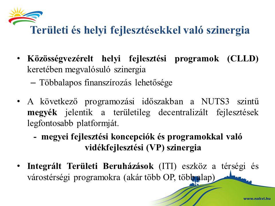 Területi és helyi fejlesztésekkel való szinergia Közösségvezérelt helyi fejlesztési programok (CLLD) keretében megvalósuló szinergia – Többalapos finanszírozás lehetősége A következő programozási időszakban a NUTS3 szintű megyék jelentik a területileg decentralizált fejlesztések legfontosabb platformját.
