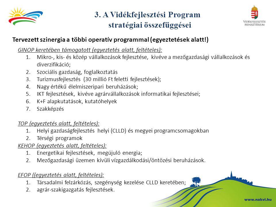 3. A Vidékfejlesztési Program stratégiai összefüggései Tervezett szinergia a többi operatív programmal (egyeztetések alatt!) GINOP keretében támogatot